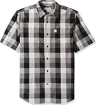 Carhartt Work in Progress Mens Essential Plaid Open Collar Short Sleeve Shirt, Charcoal, Small