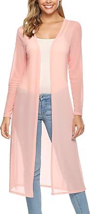 Abollria Waterfall Cardigan for Women Summer Lightweight Long Sleeve Open Front Cardigans Pink