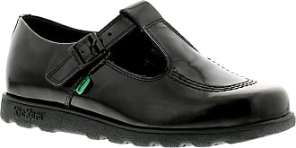 Kickers Fragma T-Bar Womens Patent Leather Material School Shoes Black - 4 UK