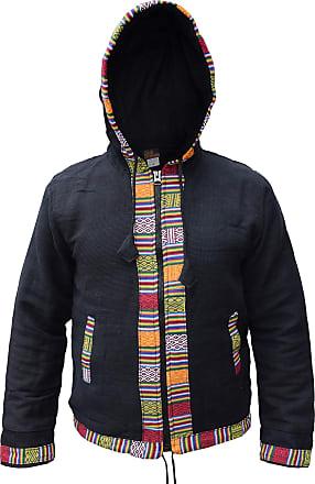 Gheri Mens Ofal Cotton Fleece Lined Ethnic Nepalese Full Zip Winter Jacket Hoodie Black X-Large