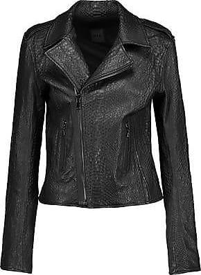 Rta Rta Woman Nico Snake-effect Leather Biker Jacket Black Size L