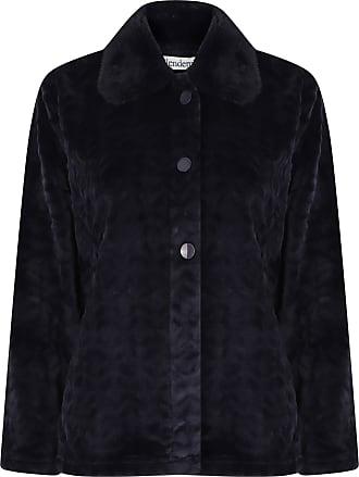 Slenderella Ladies Bed Jacket Faux Fur Collar Super Soft Fleece Button Up House Coat XL (Indigo)