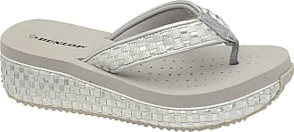 Dunlop Ladies Dunlop Toe Post Low Wedge Flip Flops Woven Beach Summer Sandals Shoes Size 3-8