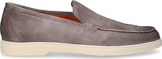 Santoni Loafers 15996 calf-suede Stitching grey