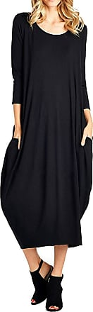 Re Tech UK Womens Ladies Baggy Lagenlook Racer Dress Loose Tulip Sleeveless Round Neck (16-18 Plus Size, Long Sleeve Black)