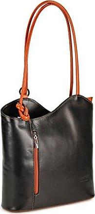 71aa6a348f42d Belli ital. Leder Handtasche Backpack Damen Rucksack aus feinstem Leder in  schwarz cognac - 28x28x8