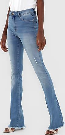 Sawary Calça Jeans Sawary Flare Pespontos Azul