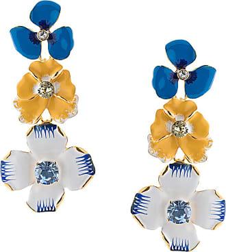 Kenneth Jay Lane Par de brincos Enamel Flower - Azul