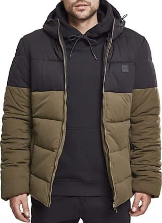 Urban Classics Mens Hooded 2-Tone Puffer Jacket Green (darkolive/black 00795), M (Pack of 2
