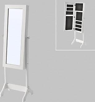 Venta-Unica.com Armario joyero con espejo BERENICE - MDF y madera de pino - 120x39x30 cm - Blanco