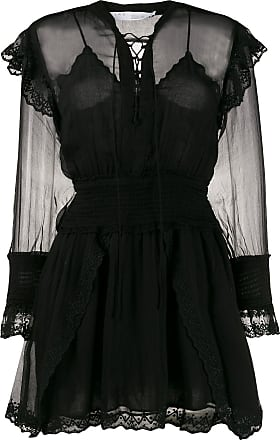 Iro Vestido midi com transparência - Preto