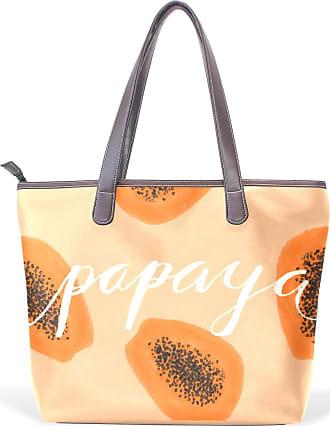 NaiiaN for Women Girls Ladies Student Shoulder Bags Leather Fruit Papaya Orange Wildlife Tote Bag Purse Shopping Handbags Light Weight Strap