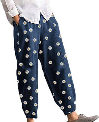 Hellomiko Women Harem Pants,Small Daisy Printed Summer Casual Trousers Elastic Waist Pants Blue