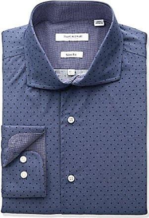 Isaac Mizrahi New York Mens Slim Fit Broadcloth Printed Dot Cut Away Collar Dress Shirt, Blue, 17 Neck 34-35 Sleeve