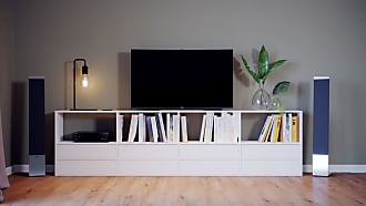 MYCS Meuble TV - Blanc, contemporain, meuble hifi, multimedia raffiné, avec tiroir Blanc - 301 x 80 x 35 cm, configurable