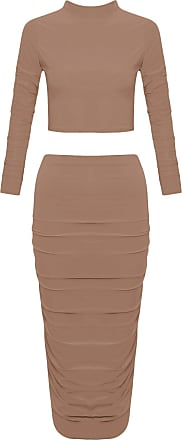 Crazy Girls Women Ladies Celebrity Kim Inspired Two Piece Suit Co Ords (12, Mocha)