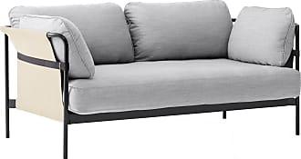 HAY Can 2.0 2-Sitzer Sofa Gestell Stahl schwarz - hellgrau/Stoff Surface by HAY 120/Außenstoff Natural Canvas/172x89x82cm/Gestell Stahl schwarz p