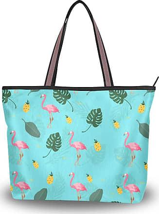 Lorona Women Colorful Hand Drawn Tropical Pattern Canvas Shoulder Hand Bag Large Capacity Tote Bag