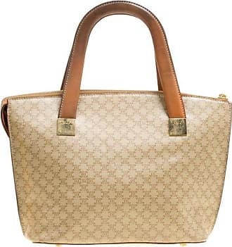 ebea1ff3fe84 Celine Beige brown Coated Canvas And Leather Macadam Zip Tote