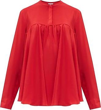 Giambattista Valli Gathered Silk Crepe De Chine Blouse - Womens - Red