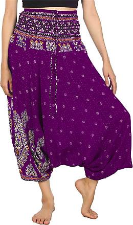Lofbaz Womens Thai Floral Harem 2 in 1 Pants Jumpsuit Purple 2XL