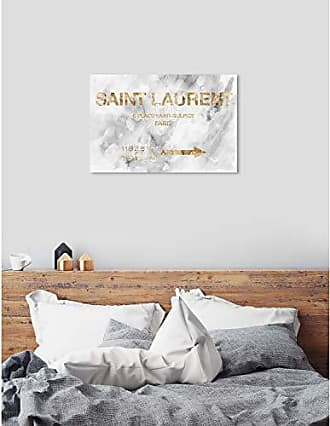 The Oliver Gal Artist Co. The Oliver Gal Artist Co. Oliver Gal Saint Sulpice Road Sign Marble Gray Fashion Wall Art Print Premium Canvas 45 x 30 Gold