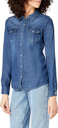 Vila Womens Vibista Shirt-noos Blouse, Blue (Dark Blue Denim Wash:Clean), 36 (Size: Small)