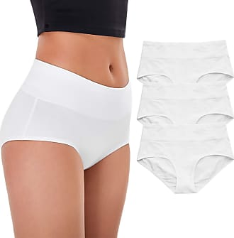 Wingslove Womens Underwear Soft Cotton High Waist Briefs Breathable Full Coverage Ladies Panties,3 Pack - White - Large