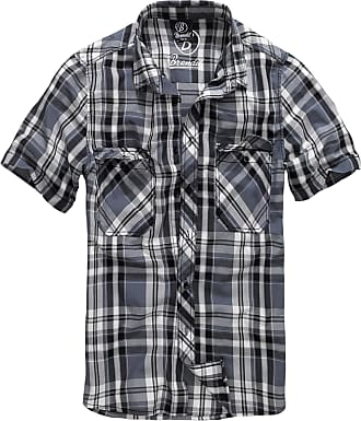 Brandit Roadstar Mens Casual Shirt with Buttons - Short Sleeve - Black - Large
