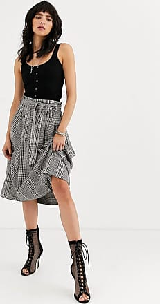 Object check midi skirt with paperbag waist-Multi