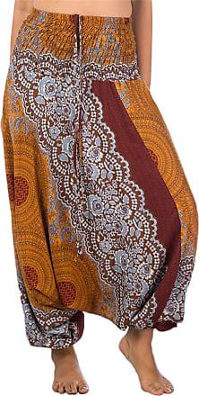 Lofbaz Womens Rose 1 Smocked Waist 2 in 1 Harem Jumpsuit Pants Brown XL
