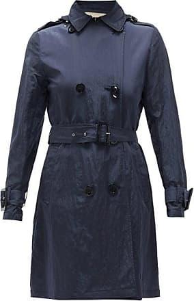 Herno Crinkled Technical Shell Hooded Coat - Womens - Navy