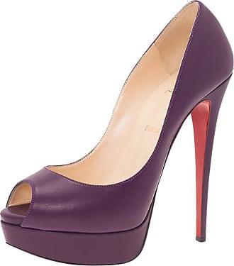 8e95326fa70 Christian Louboutin Purple Leather Lady Peep Platform Pumps Size 40