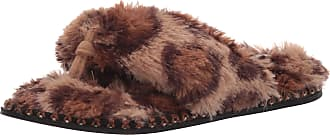 Dearfoams Womens Marie Furry Thong Slipper, Leopard, Medium