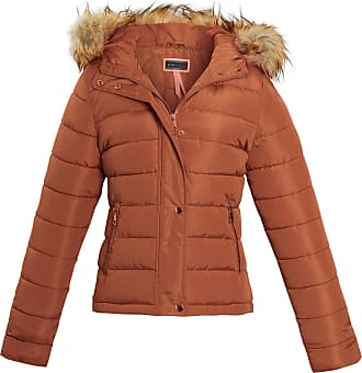 Shelikes Womens Ladies Fur Winter Quilted Hooded Parka Jacket Size[Stone UK 10]