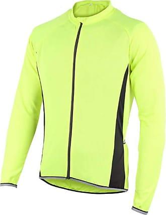 Hellomiko Mens Full Zip Quick Drying Lightweight Running Cycling Jersey Fluorescent Green