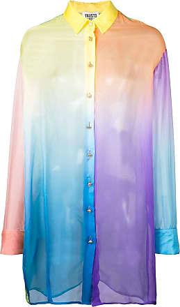 FAUSTO PUGLISI Camisa oversized translúcida - Azul