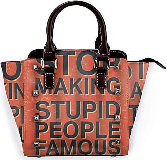 Browncin Stop Making Stupid People Famous Vintage Stamp Quote Square Detachable Fashion Trend Ladies Handbag Shoulder Bag Messenger Bags