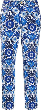 Escada floral print cropped jeans - Azul