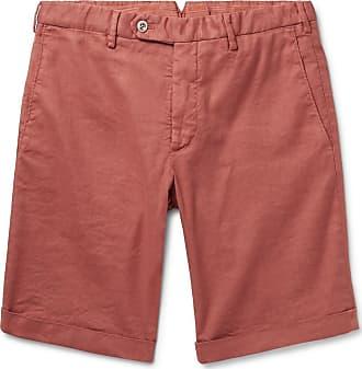Zanella Chase Stretch Linen And Cotton-blend Shorts - Brick