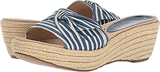Anne Klein Womens Zandal Wedge Sandal Slide, Blue/White Fabric, 10 Medium US