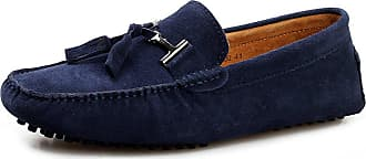 Jamron Mens Stylish Tassel Suede Moccasins Comfort Loafers Flats Driving Shoes Navy 2080 UK9.5
