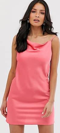 Miss Selfridge slip dress with cowl neck in coral-Orange