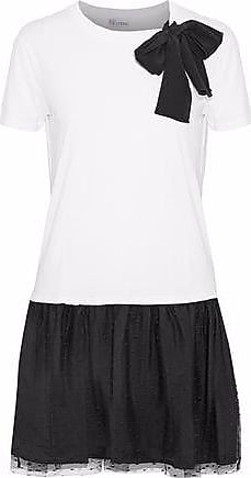 Red Valentino Redvalentino Woman Bow-detailed Point Desprit-paneled Cotton-blend Jersey Mini Dress White Size S