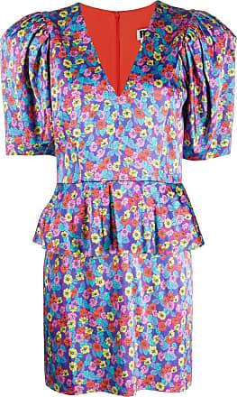 Rotate Vestido Mindy com peplum e estampa floral - Roxo