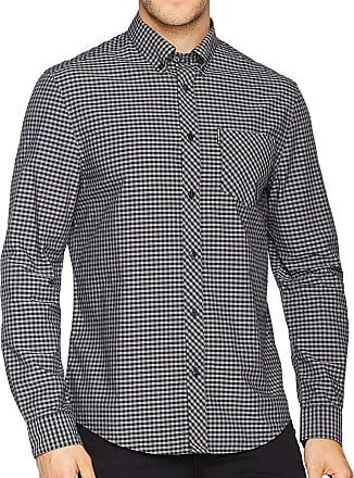 Ben Sherman Black and Grey Brushed Gingham Check Original Retro Button Down Long Sleeve Shirt 2XL