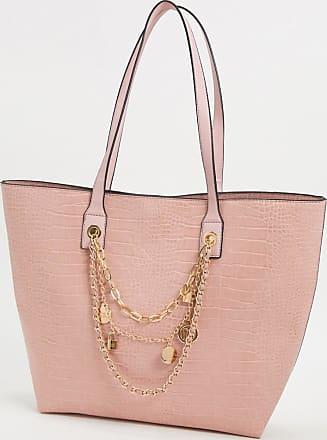 River Island croc chain detail shopper bag in pink