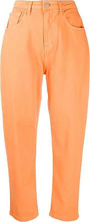 Ireneisgood Calça jeans cenoura cintura alta - Laranja
