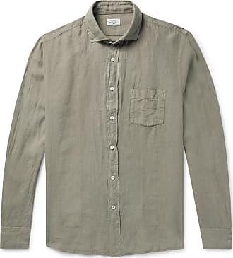 Hartford Paul Pat Slim-fit Linen Shirt - Army green