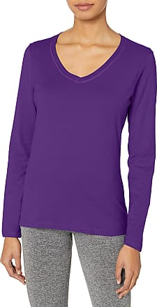 Hanes womensO9142V-neck Long Sleeve Tee Long Sleeve Shirt - Purple - XX-Large